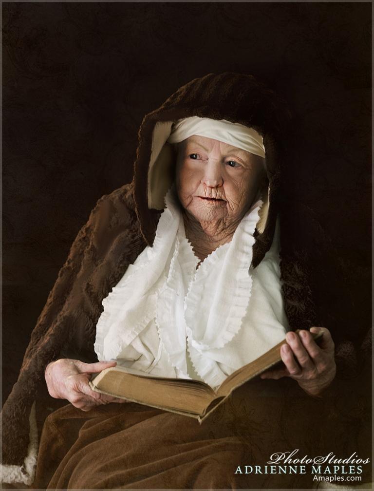 renaissance portrait painting old woman reading book